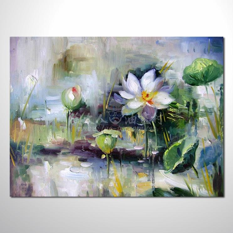睡蓮荷花參考圖 18 純手繪 ☆希望在我們的油畫村裡能讓您陶然自得!